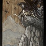 "'omen bringers' 12.5""x24.75"" acrylic and marker on weathered plywood."