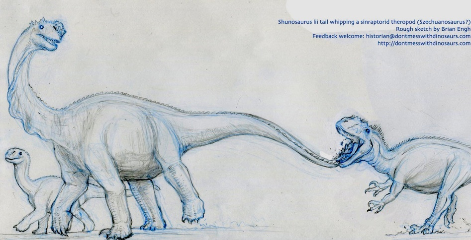 Shunosaurus crackin Szechuanosaurus in the growler - Rough sketch by Brian Engh