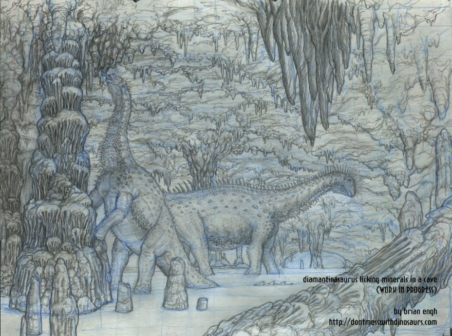 Diamantinasaurus pencil drawing (uncolored)
