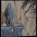 "'the offering' 10""x10"" acrylic and marker on weathered plywood"
