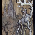 "'ghost elk' 11.5""x19.75"" acrylic and marker on weathered plywood"