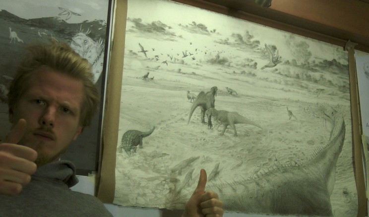 Big pencil drawing wiht iguanodon thumbs up for scale