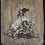 """'your king is coming' 12""""x13""""  acrylic and marker on weathered plywood"""